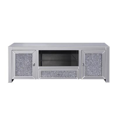 Noralie 59 in. Mirrored and Faux Diamonds Wood TV Stand with 2 Drawer Fits TVs Up to 50 in. with Storage Doors