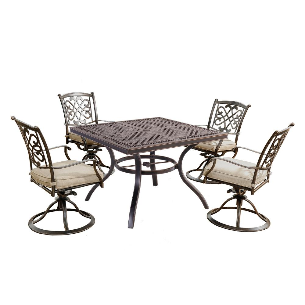 5-Piece Metal Patio Conversation Set with Beige Cushions and Square Table