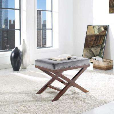Facet Gray Velvet Bench