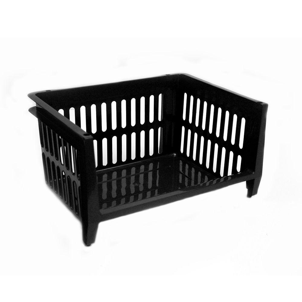 19 in. x 14 in. x 10 in. Storage Stacking Basket in Black