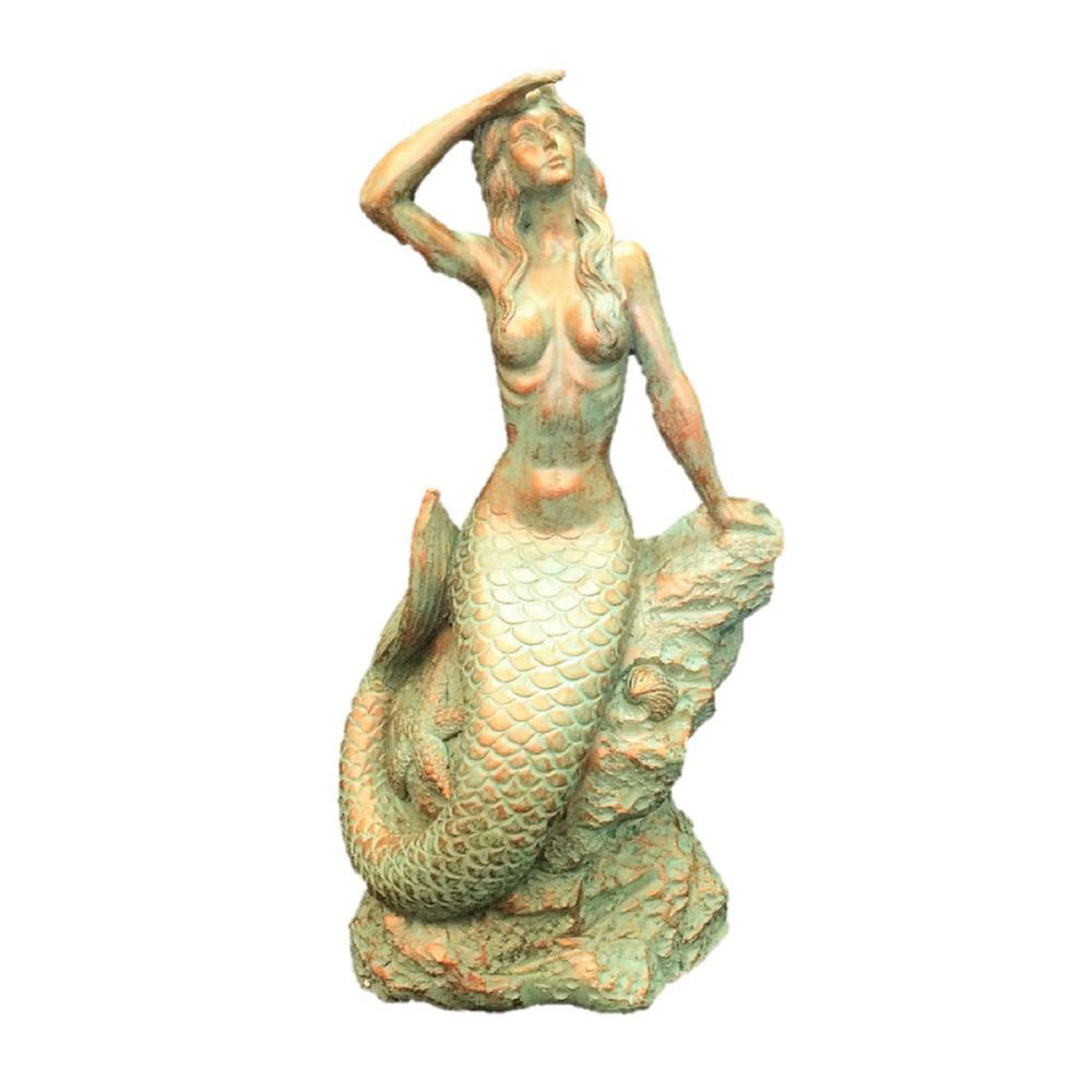 16 in. Bronze Patina Classic Mermaid Sitting on Coastal Rock Looking