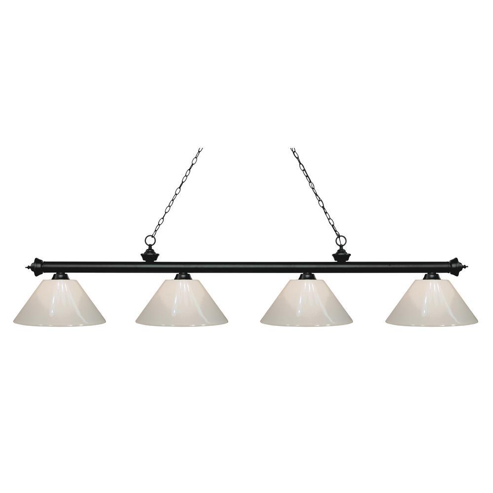Porter 4-Light Matte Black Billiard Light with White Plastic Shade
