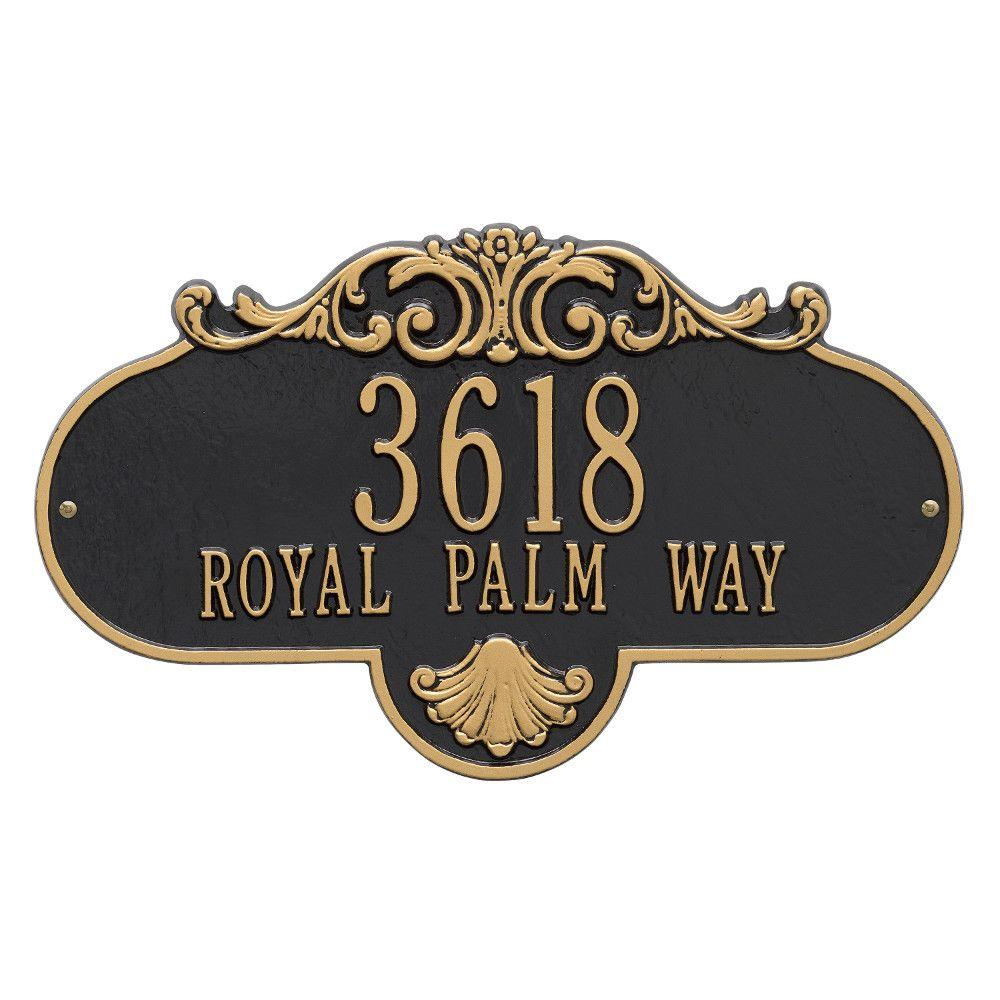 Whitehall Products Oval Rochelle Grande Black/Gold Wall 2-Line Address Plaque