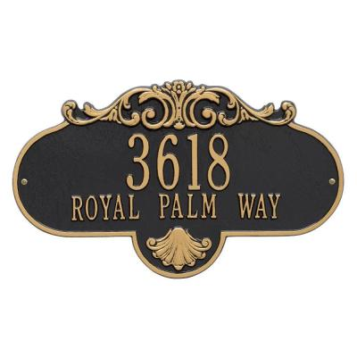 Oval Rochelle Grande Black/Gold Wall 2-Line Address Plaque