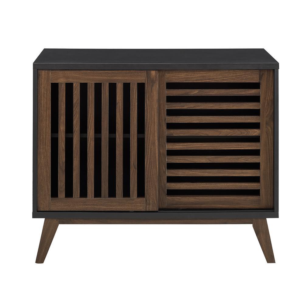 Walker edison furniture company 36 in black dark walnut mid century modern farmhouse sliding slat door tv stand accent storage console table hdf36ssdsb
