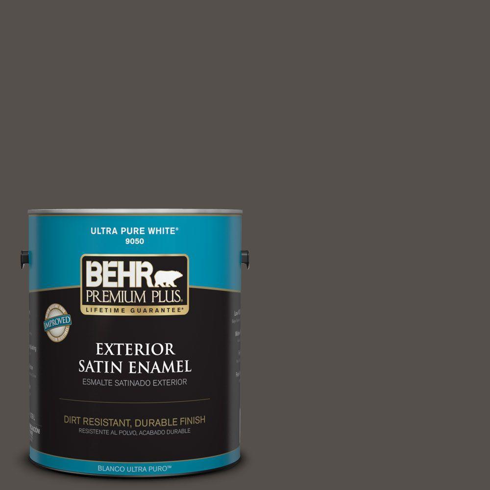 BEHR Premium Plus 1-gal. #790D-7 Black Bean Satin Enamel Exterior Paint