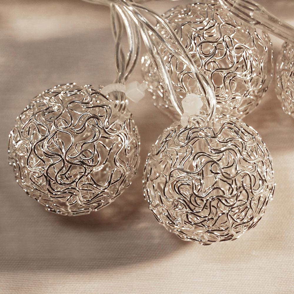 20- Light 16 ft. Silver Balls Solar String Lights