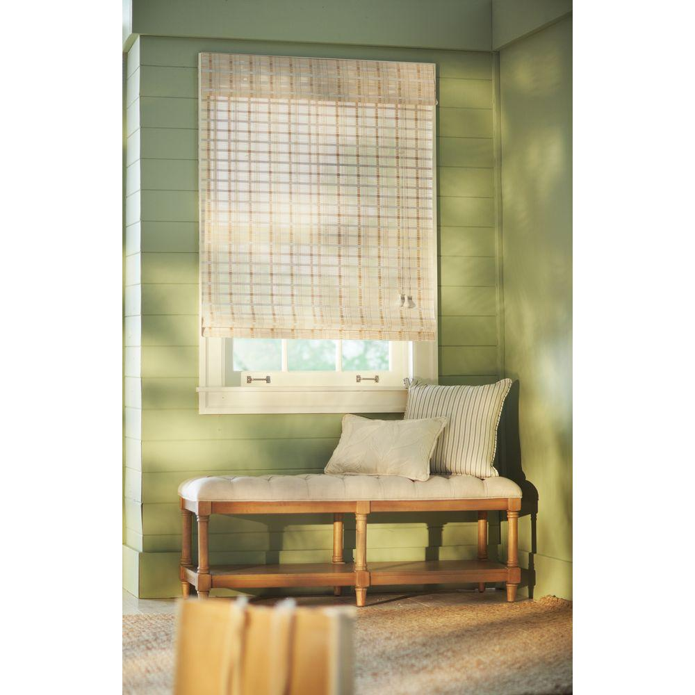 White Washed Reed Weave Bamboo Roman Shade - 70 in. W