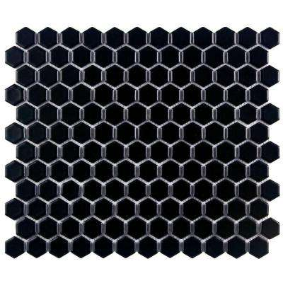 Metro Hex Matte Black 10-1/4 in. x 11-3/4 in. x 5 mm Porcelain Mosaic Tile