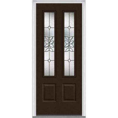 36 in. x 80 in. Cadence Right-Hand Inswing 2-Lite Decorative 2-Panel Classic Painted Steel Prehung Front Door