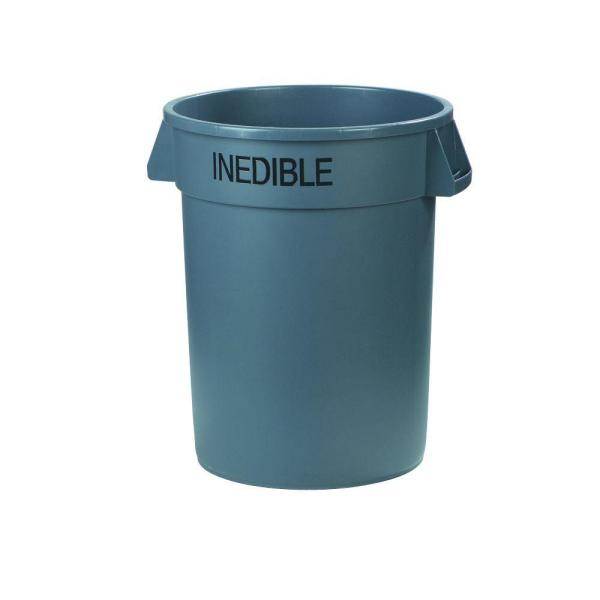 Bronco 32 Gal. Gray Round Trash Can Imprinted with Inedible (4-Pack)