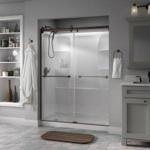 Delta Crestfield 60 inch x 71 inch Semi-Frameless Contemporary Sliding Shower Door in Bronze with Clear Glass by Delta