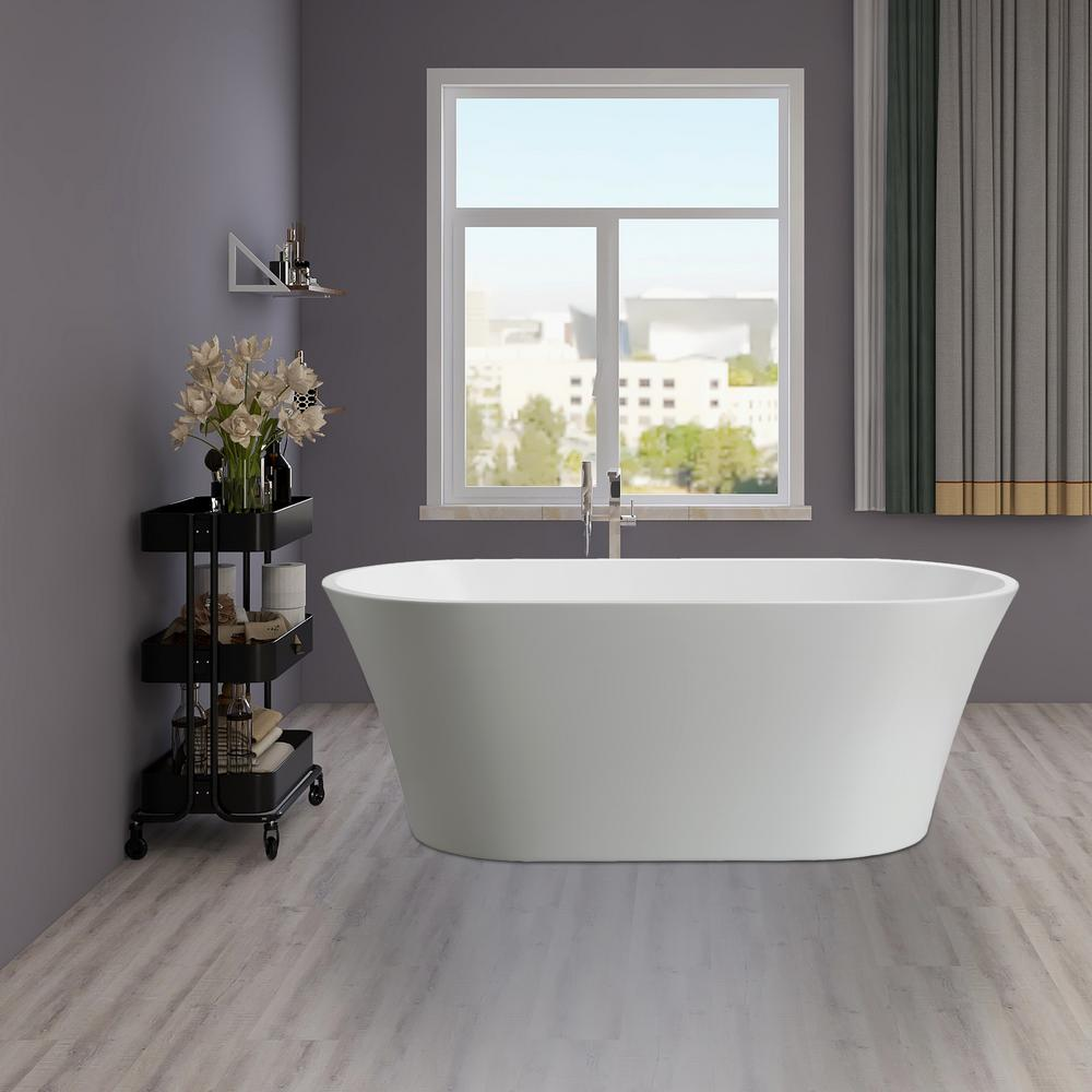 Vanity Art Antony 63 in. Acrylic Flatbottom Freestanding Bathtub in White
