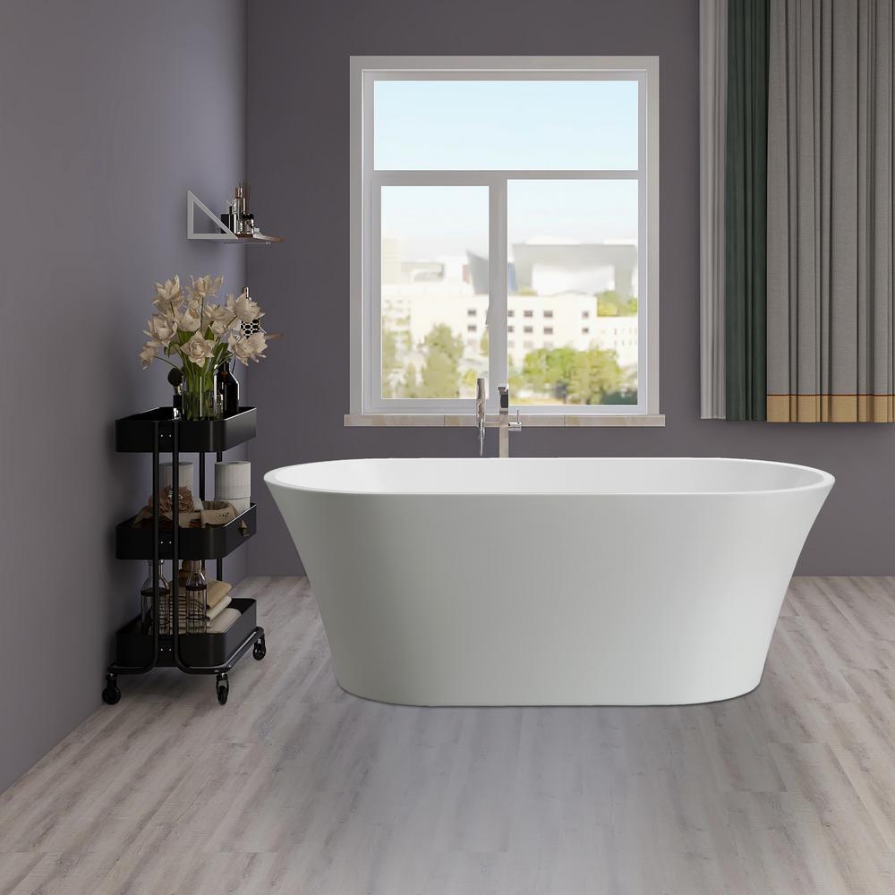 Antony 63 in. Acrylic Flatbottom Freestanding Bathtub in White