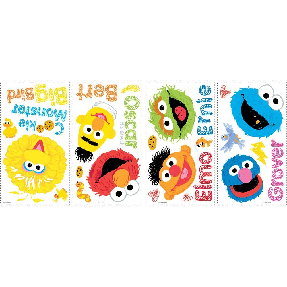 null 10 in. x 18 in. Sesame Street - Scribble 26-Piece Peel and Stick Wall Decals