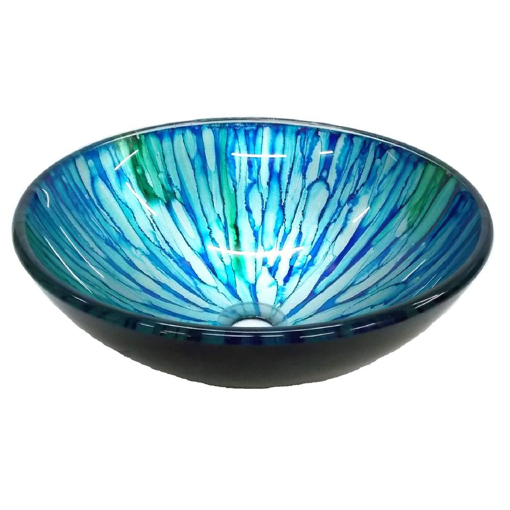 Magnolia Glass Vessel Sink in Blue and Green with Pop-Up Drain