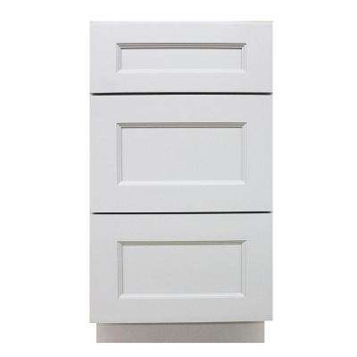 15x34.5x24 in. White Modern Craftsmen - Ready to Assemble 3 Drawer Base Cabinet