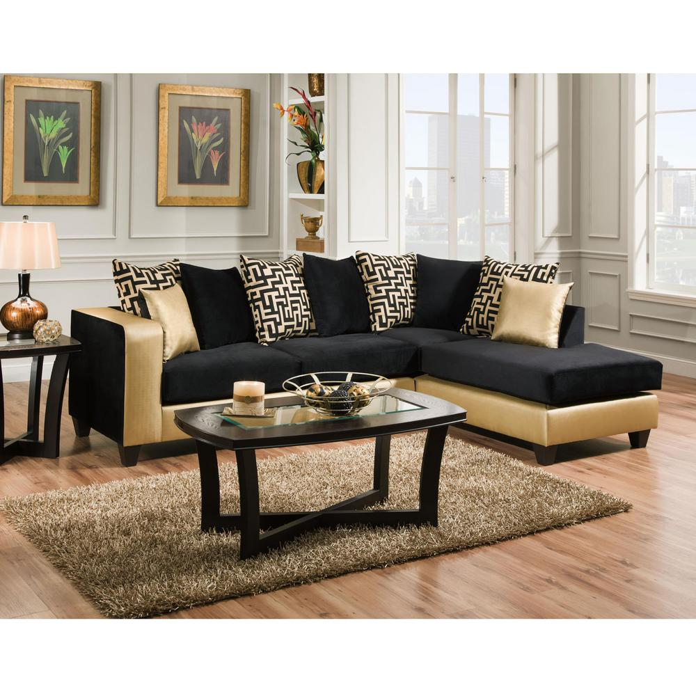 Flash Furniture Riverstone Implosion Black Velvet Sectional