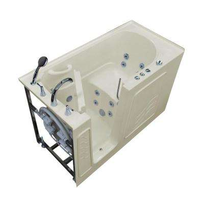 HD Series 60 in. Left Drain Quick Fill Walk-In Whirlpool Bath Tub with Powered Fast Drain in Biscuit