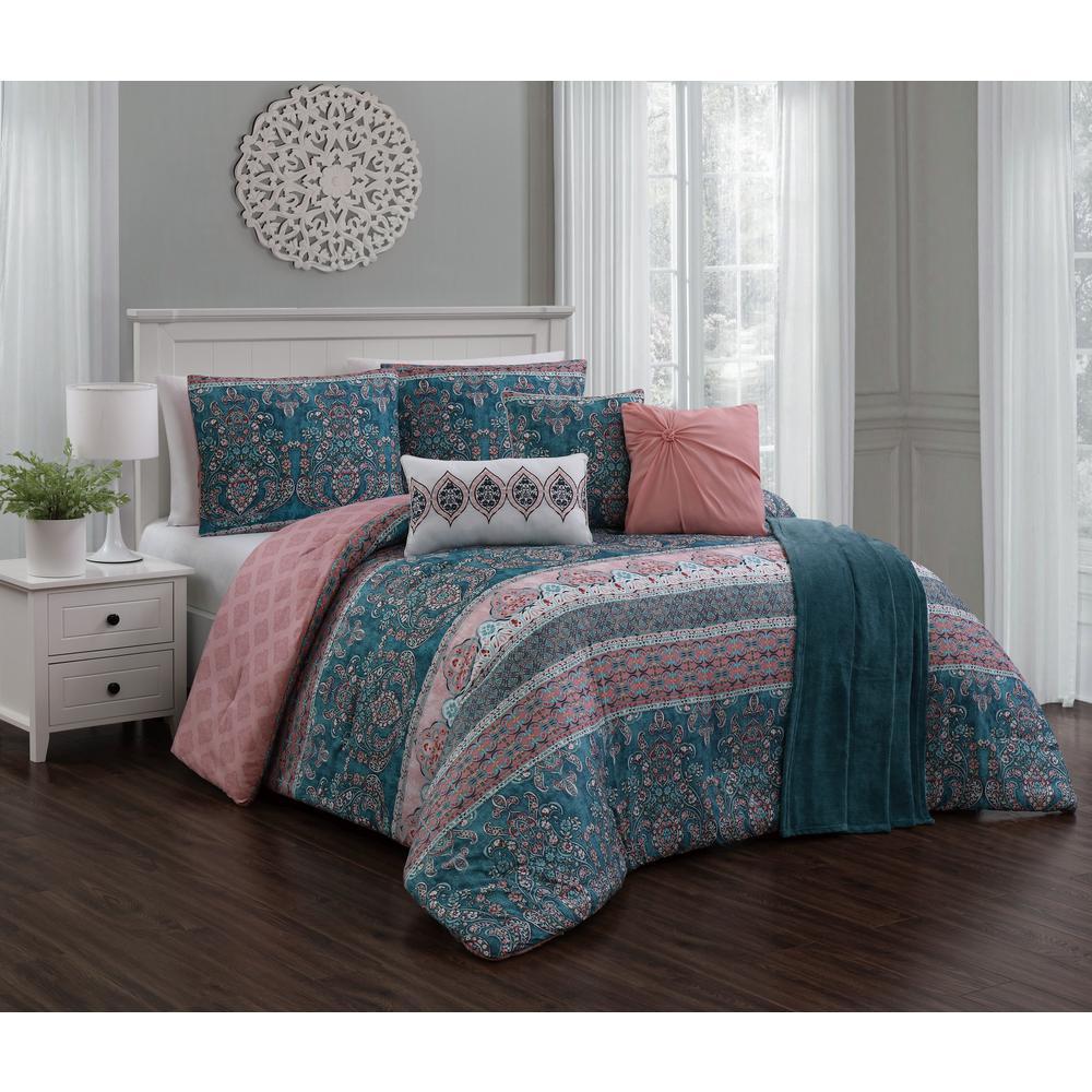 Belladonna 7-Piece Teal/Pink Queen Comforter w/ Throw
