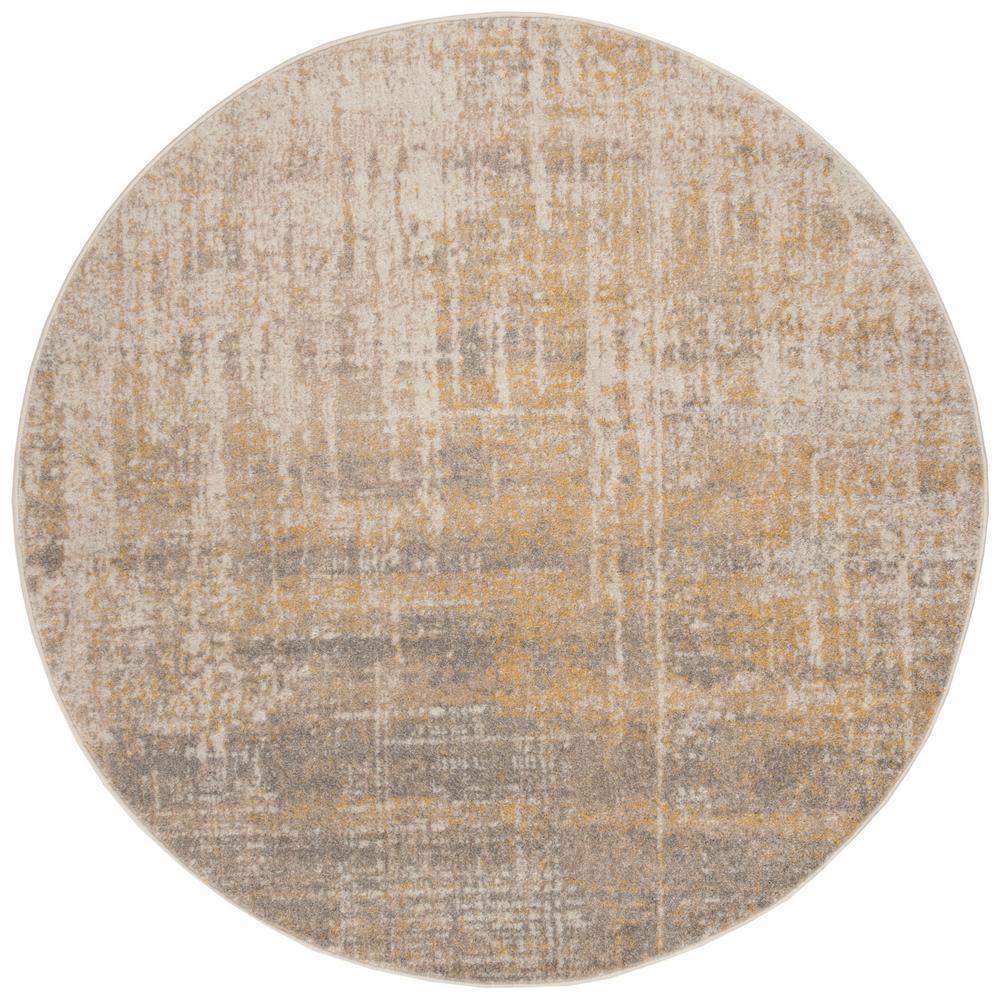 Adirondack Cream/Gold 8 ft. x 8 ft. Round Area Rug