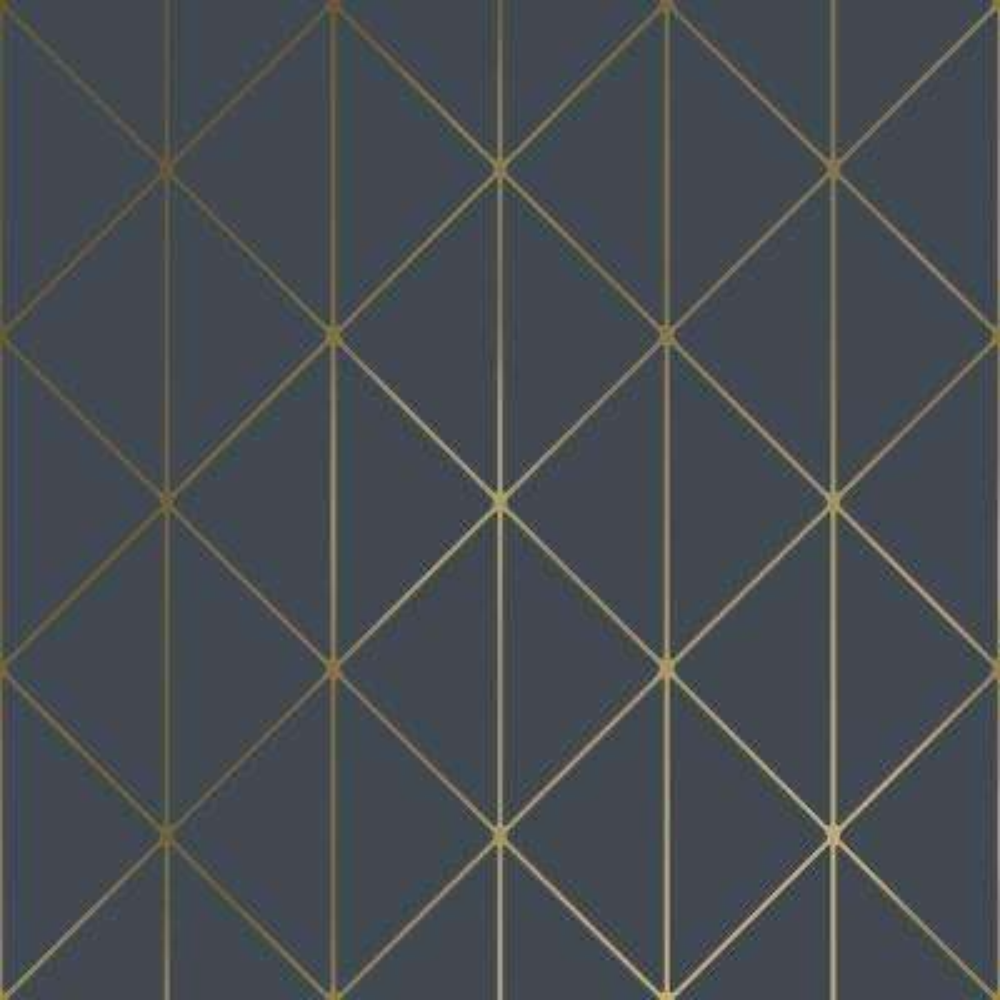 Diamonds Navy Geometric Navy Wallpaper Sample