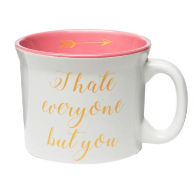 I Hate Everyone but You 20 oz. White-Pink Ceramic Coffee Mug