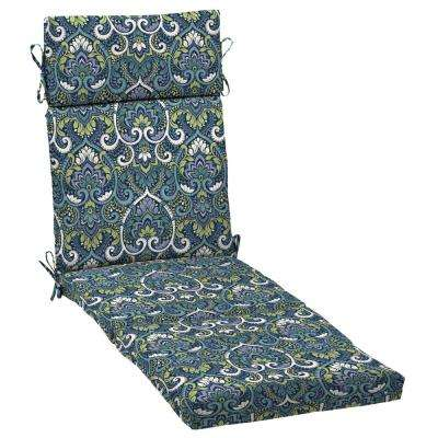 21 x 72 Sapphire Aurora Damask Outdoor Chaise Lounge Cushion