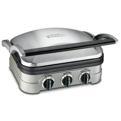 Griddler 102 sq. in. Brushed Stainless Steel Indoor Grill with Removable Cooking Plates