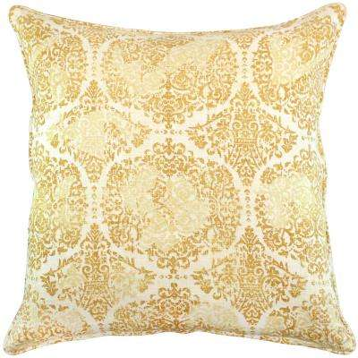 American Colors Distressed Wheat Damask Pillow
