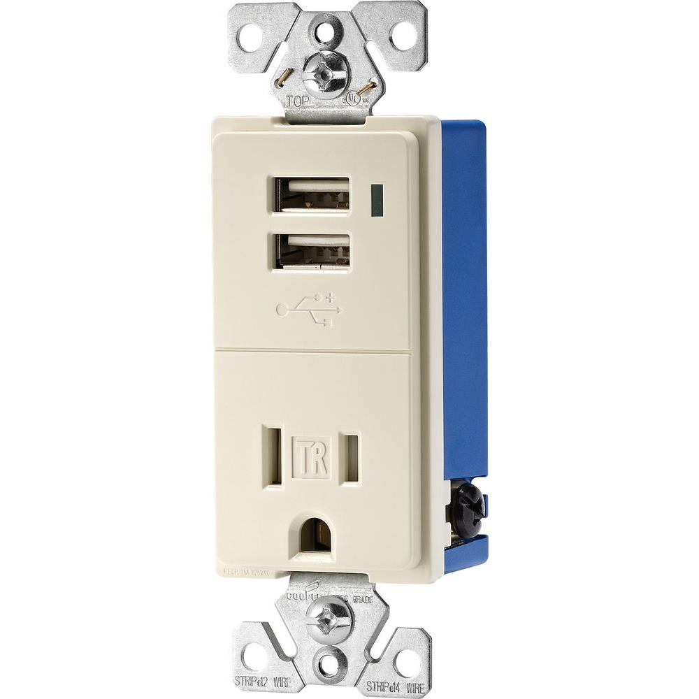 Eaton 15 Amp Decorator Usb Charging Electrical Outlet Light Almond How To Wire An Wiring
