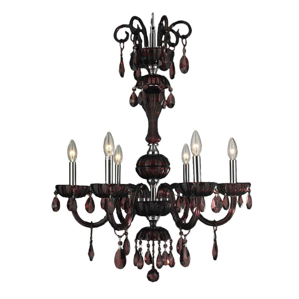Carnivale Collection 6-Light Polished Chrome Chandelier with Cranberry Red Crystal
