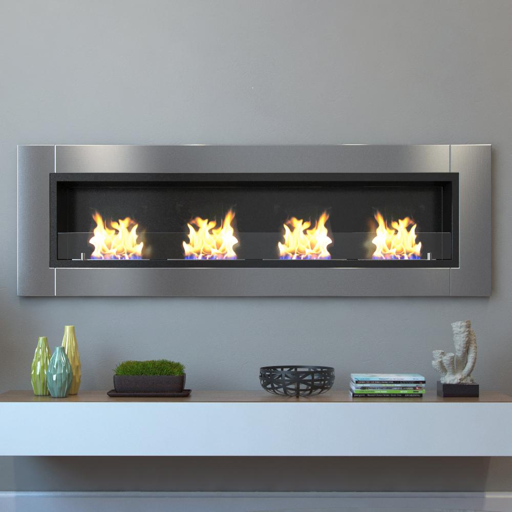 Moda Flame Wraith 64 In Wall Mounted Ethanol Fireplace In Stainless