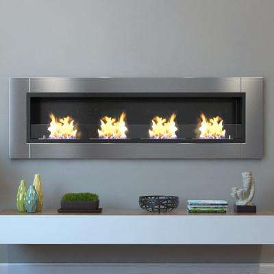 Wraith 64 in. Wall Mounted Ethanol Fireplace in Stainless Steel