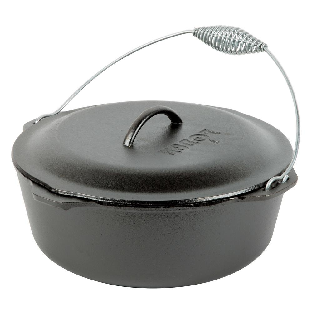 Enamel 4 qt. Round Cast Iron Dutch Oven in Black with Lid and Bail Handle