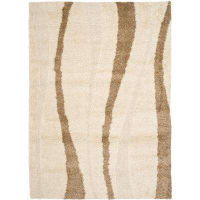 Florida Shag Cream/Dark Brown 8 ft. x 10 ft. Area Rug