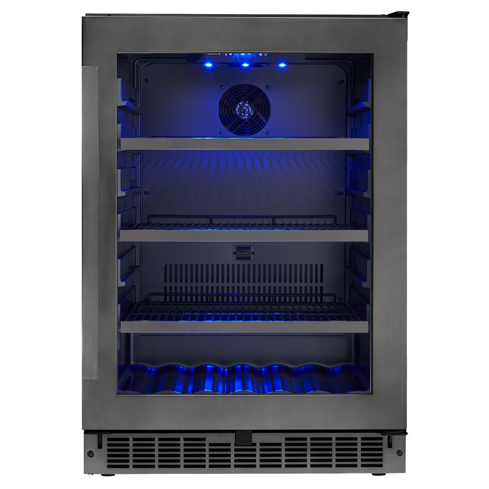 Silhouette Single Zone 23.81 in. Wide 5.6 cu. ft. Beverage Center in Black Stainless