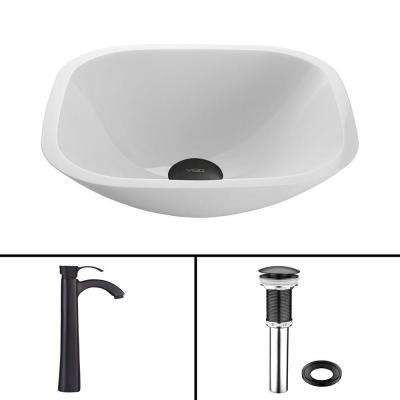Glass Vessel Sink in Square Shaped White Phoenix Stone and Otis Faucet Set in Matte Black