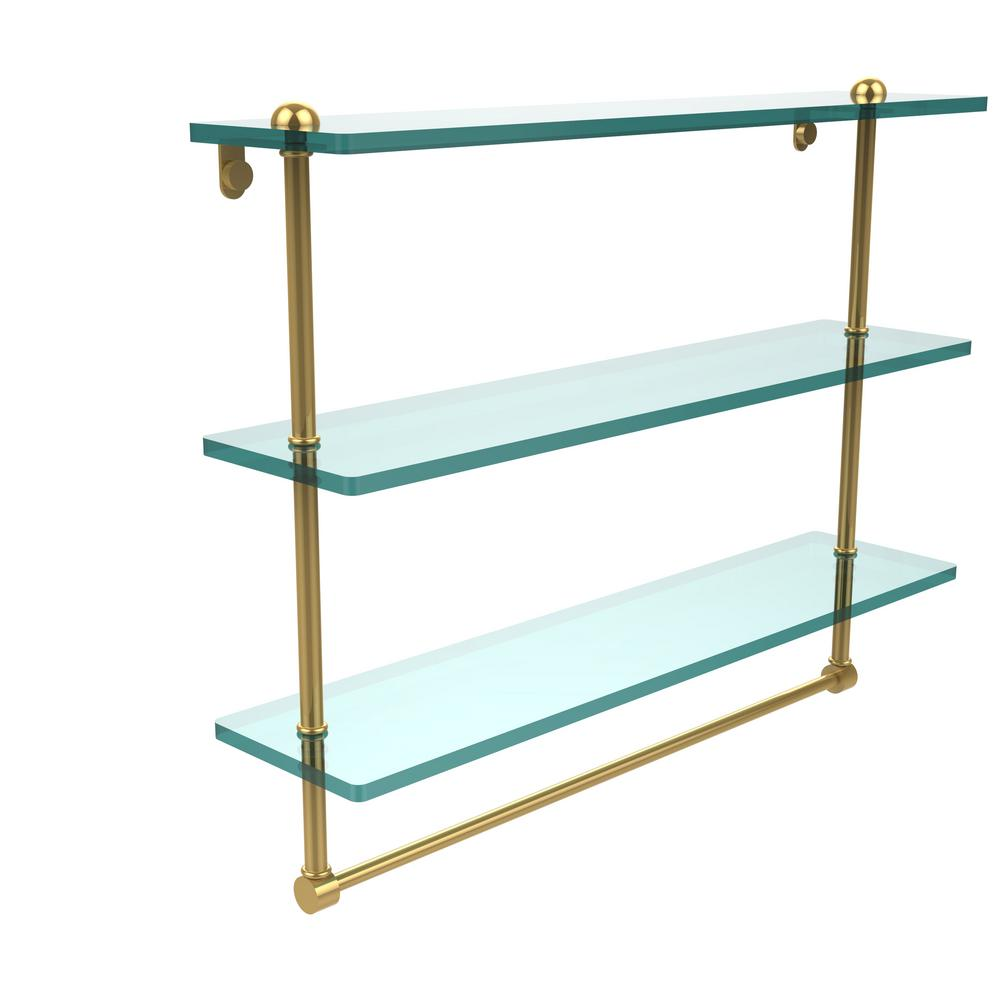 22 in. Triple Tiered Glass Shelf with Integrated Towel Bar in