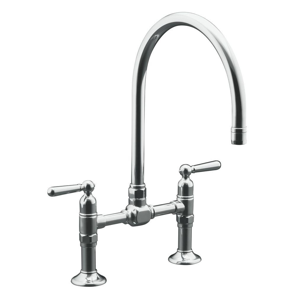 KOHLER HiRise 2-Handle Bridge Kitchen Faucet in Brushed Stainless ...