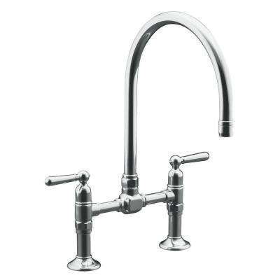 HiRise Deck-Mount 12 in. 2-Handle High-Arc Bridge Kitchen Faucet in Polished Stainless Steel