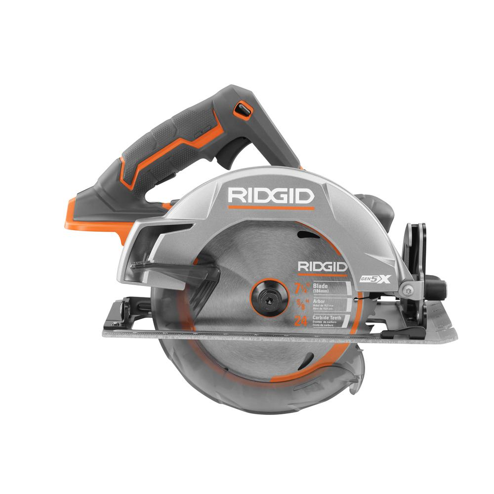 Ridgid 18 Volt Gen5x Cordless 7 1 4 In Circular Saw Tool Only With Blade And Blade Wrench R8652b The Home Depot