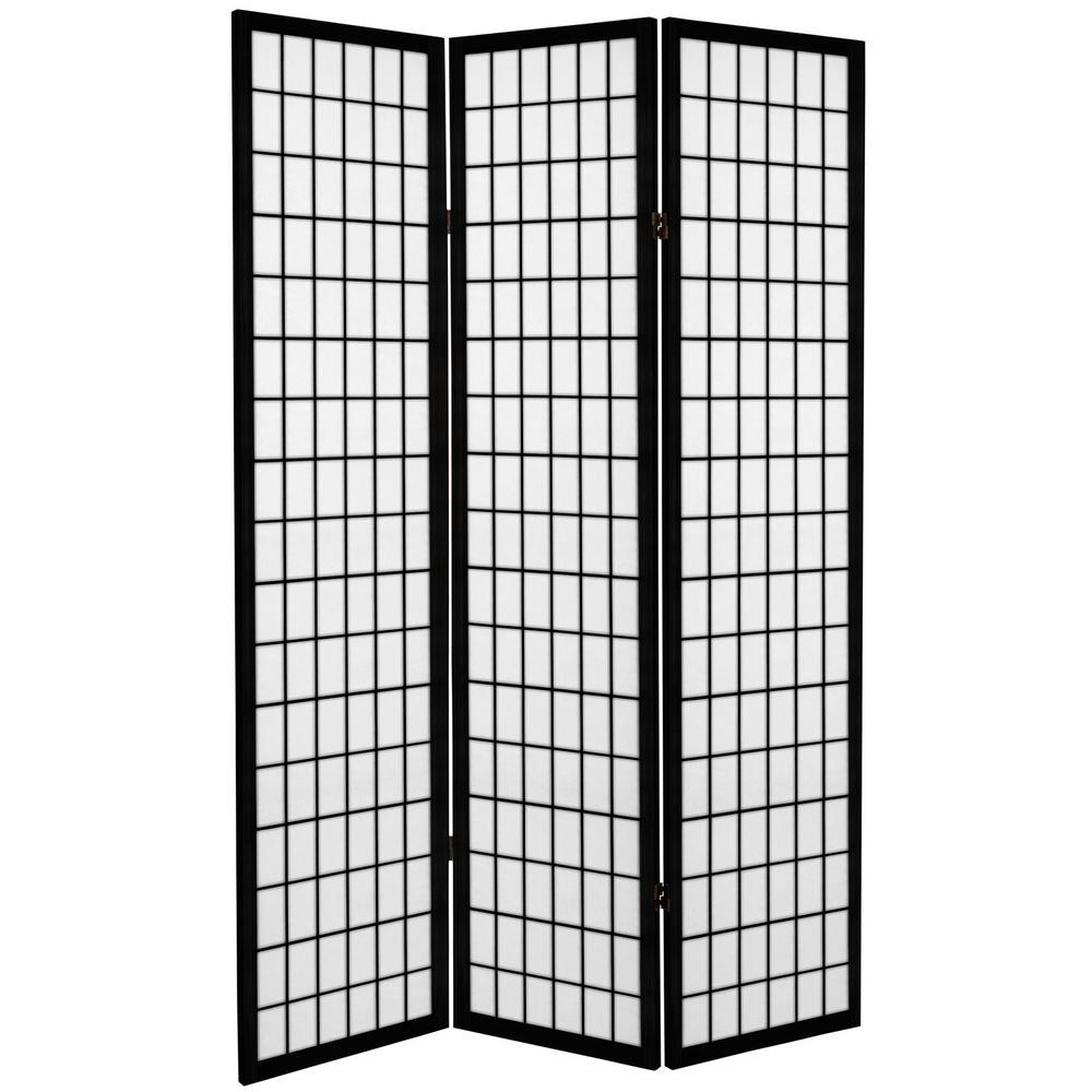6 ft. Black Canvas Window Pane 3-Panel Room Divider