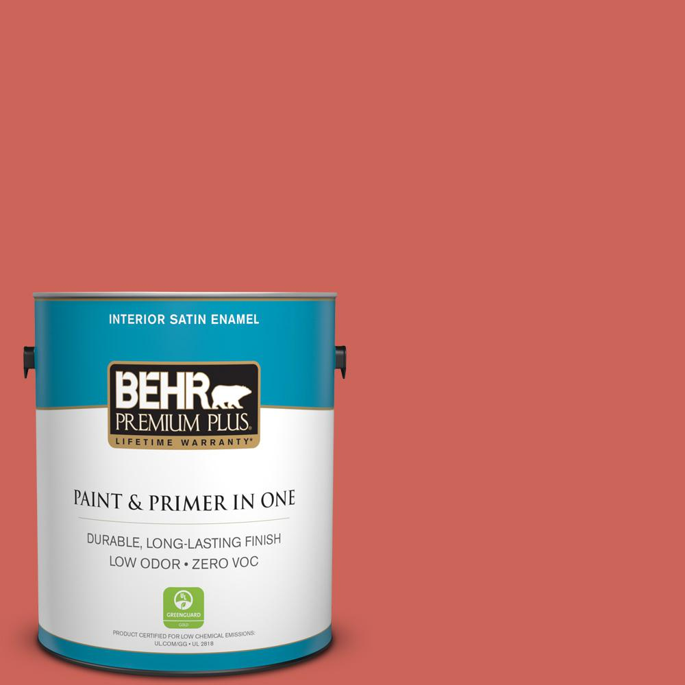 Behr Premium Plus 1 Gal Ppu1 5a Red Coral Satin Enamel Zero Voc Interior Paint And Primer In