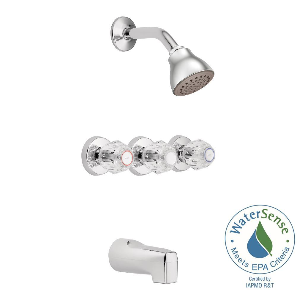 3 Handle Tub And Shower Faucet With Valve.Moen Chateau 3 Handle 1 Spray Tub And Shower Faucet In Chrome Valve Included