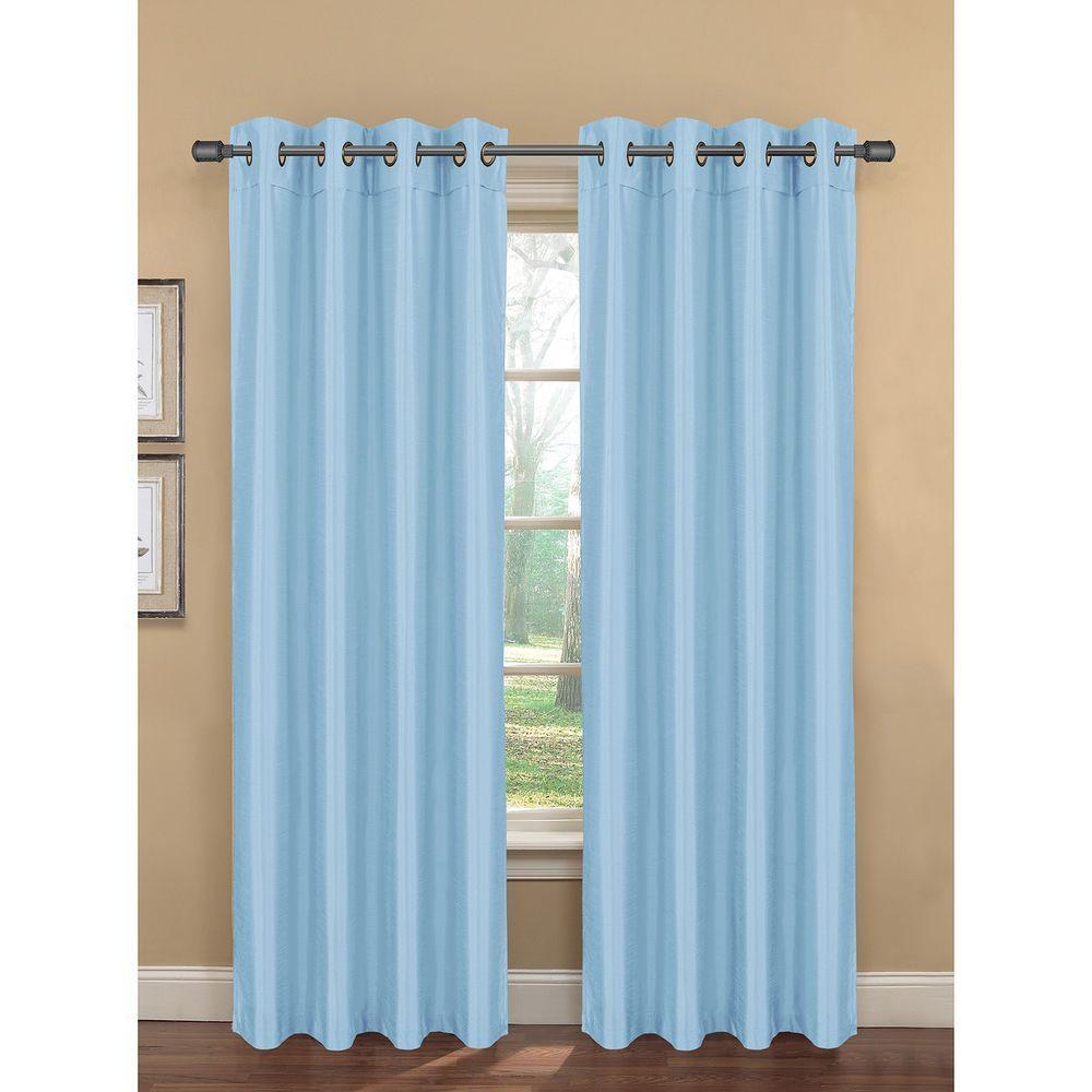 Bella Luna Semi-Opaque Bliss Faux Silk 84 in. L Room Darkening Grommet Curtain Panel Pair, Dusk Blue (Set of 2)