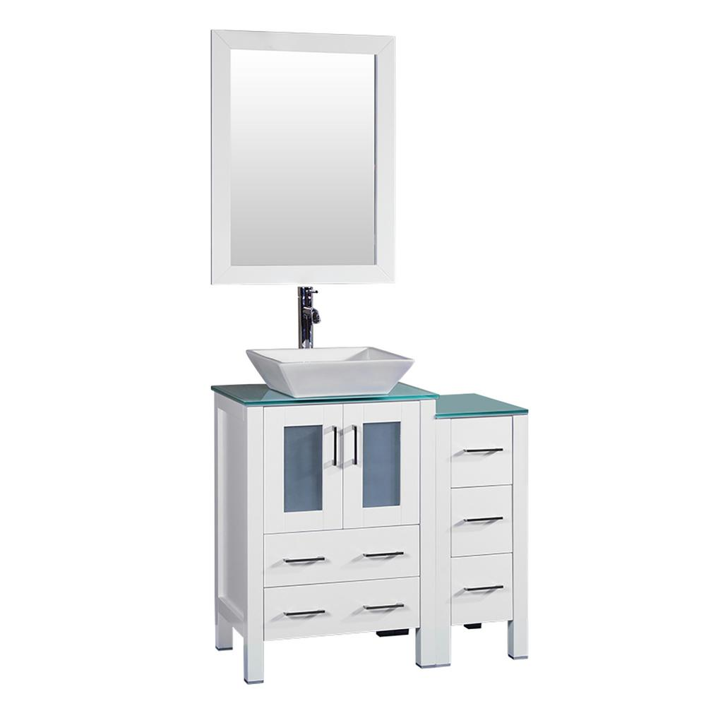 Bosconi 36 in. W Single Bath Vanity in White with Tempered Glass Vanity Top with White Basin and Mirror