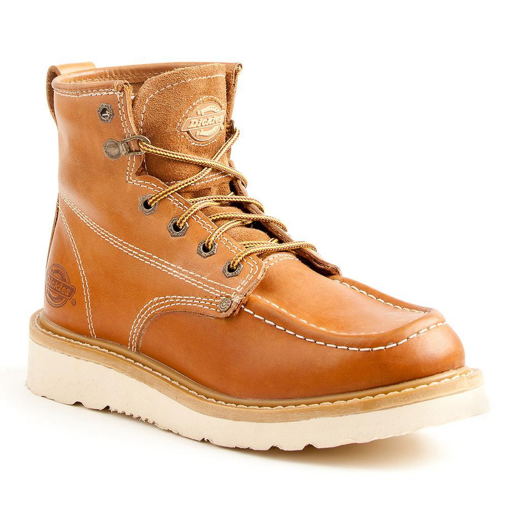 c3b60edf488 Dickies Trader Men Size 10 Luggage Tan Soft Toe Leather Work Boot
