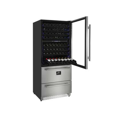 Capraia 30 in. Triple Zone 144/200 Bottles-Cans Freestanding Wine Cooler with Compressor in Stainless Steel