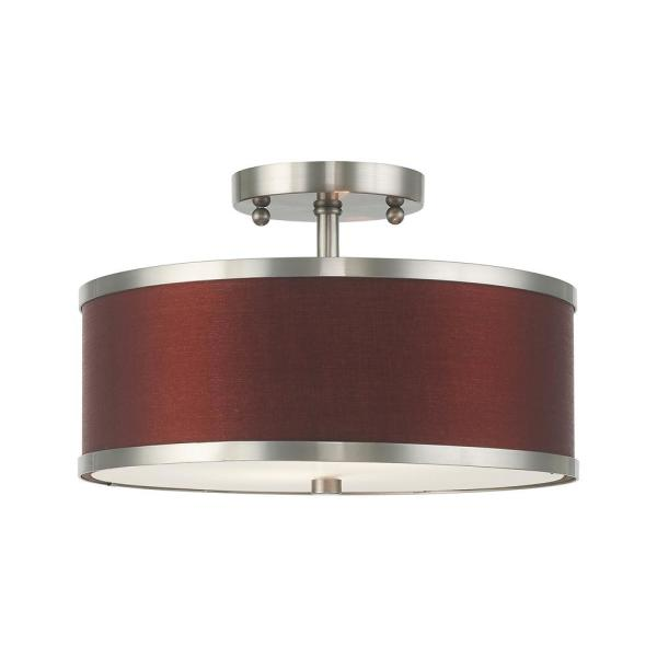 Park Ridge 13 in. 2-Light Brushed Nickel Semi-Flush Mount Light